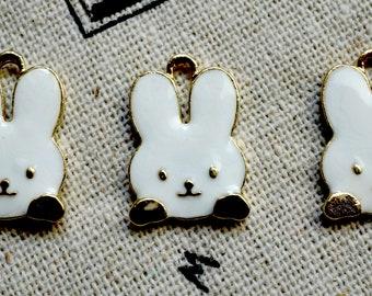 Rabbit charms 3 gold & white enamel pendant charm jewellery supplies C434