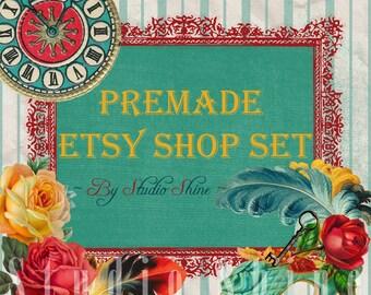 Etsy Shop Set - Premade Etsy Banner - Etsy Shop Banner - Etsy Cover - Etsy Shop Icon - Avatar - Antique Parade