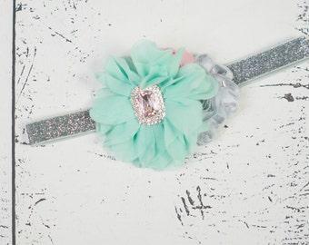 MINT PINK SILVER Headband, Baby headband, Mint Pink Silver Flower Girl Headband, Mint Girls Headband, Girls First Birthday Headband