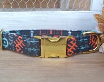 Dog Collar, Navy Tribal Dog Collar, Male Dog Collar, Boy Pet Collar, Tribal Design, Gold Metal Buckle Dog Collar
