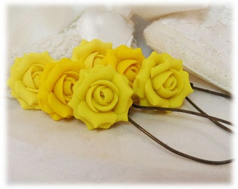 Yellow Rose Earrings - Silver Gold or Antique Brass Yellow Rose Dangle or Drop Earrings, Yellow Rose Jewelry