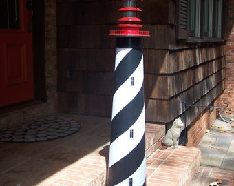 """St. Augustine Lighthouse, Solar decorative lawn and garden --  45""""  --  authentic base."""