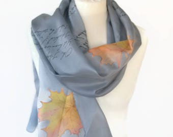 Robert Frost book scarf bookish Gift for lyric lovers with Swarovski Crystal Ring Silk Hand Painted Scarf READY to Ship more color available