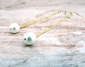 Long Dangly Pearl Earrings - Drop Earrings - Girlfriend Gifts Under 20 - Hypoallergenic - Gold Earrings - Pearl Gifts for Her - Everyday