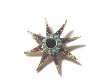 Vintage Goldtone Star Pin with Rhinestones and Turquoise