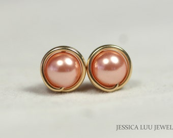 Gold Peach Pearl Stud Earrings Wire Wrapped Jewelry Rose Gold Stud Earrings Swarovski Pearl Earrings Rose Gold Pearl Earrings Rose Peach
