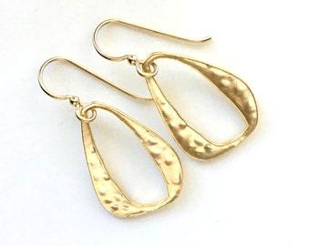 Gold Hammered Earrings, Hammered Teardrop Link, Clean and Modern Long Earrings