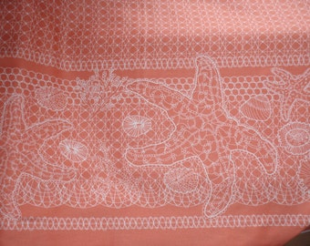 Tidal Lace Summer Shell Beach Starfish Urchin Coral White Fabric BTY 1 Yd