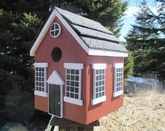 School House Birdhouse, Red Bird House, Country Birdhouse, Handmade Birdhouse, Outdoor Wood Birdhouse,  Unique Birdhouse, Wooden Birdhouse