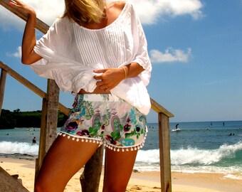 Pom Pom Shorts - Aqua & Lime Paisley with White Pom Pom Trim - 70's beach shorts