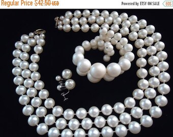 ON SALE Vintage Faux Pearl Demi Parure 1950's 1960's Necklace Earring Set Mad Men Mod Retro Chunky Wide Black Tie Jewelry