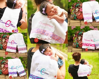 Personalized Burp Cloth, burp clothes, choice of colors, made to match, diaper bag essential