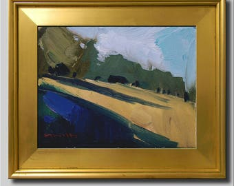 Plein Air Landscape Painting, Impressionist Oil, Lime Landscape, Hills Field Painting, Contemporary Green Painting, Abstract Painting