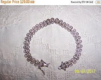 SUMMER SALE 20% OFF, Vintage Clear Cubic zirconias bracelet. Silver plated.
