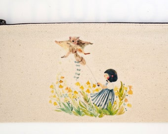Watercolor illustration canvas pencil pouch - girl and flying bat