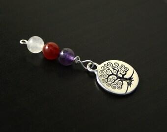 Triple gem Tree of Life Blessingway bead - Rose quartz, carnelian, amethyst - Mother Blessing, baby shower gift, pregnancy gift, doula gift