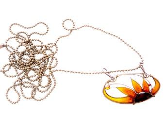 Sunflower Pendant. Long Sunflower Necklace. Sunflower Earrings. Sunflower Jewelry. Amber Jewelry. Flower Jewelry. Sunflower Jewelry Set.
