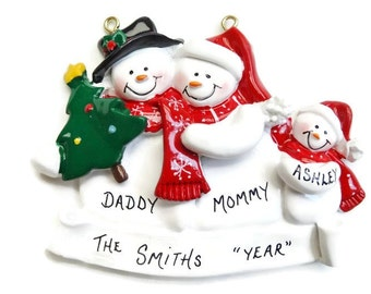 Personalized Snow Family of 3 Christmas Ornament - Personalized Free