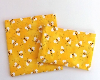 Reusable Snack Bag Sandwich Bag in Honey bees Bumble bees, perfect for School lunch Work day lunch or Snacks on the go Zero waste Earth day