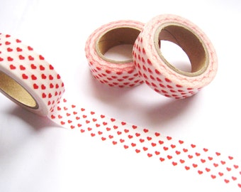 Tiny Red Hearts Washi Tape - Planner Washi Tape - Cute Red Hearts Washi Tape - 10 mt - Decorative Paper Tape - Red Hearts Washi