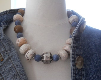 The Bold and The Beautiful necklace- magnesite, coral, jasper, silver, blue, white, brown