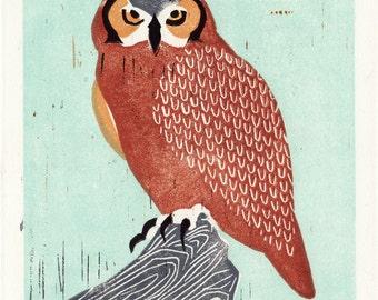 GREAT HORNED OWL - Original Hand-Pulled Linocut Illustration Block Print 5 x 7, Blue, Red, Orange, Art, Wall Decor