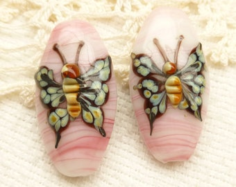 Butterfly Lampwork Beads Focal, Baby Pink (2)