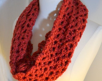 SALE - Brick Red Cowl, Crochet Infinity Scarf, Chunky Knit, Red Crochet Scarf, Open Weave Knit