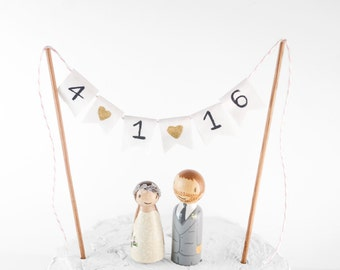 Wedding Date Banner, wedding date cake topper, cake topper, wedding decor, peg people cake topper, bunting cake topper, bride groom topper