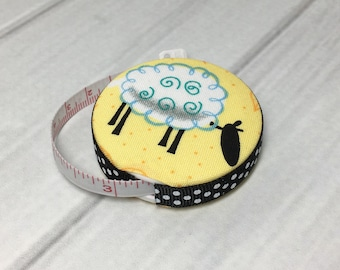 Grazing Sheep (B) Fabric Covered Retractable Tape Measure