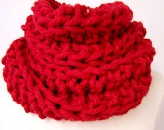 Große Grobstrick roten Kutte, groß groß Kutte rot, großen roten gerippten Kutte, große Kutte rot, Mode-Trends, große stricken Red Circle Schal