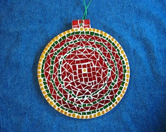 Red Green and Gold Stained Glass Mosaic Ornament 6.75 6 Inches Gift Under 25 Dollars