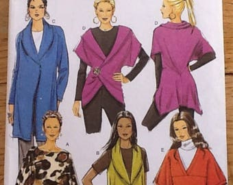 Sewing Pattern. Butterick B5680 ladies loose fitting wrap, poncho and jacket.