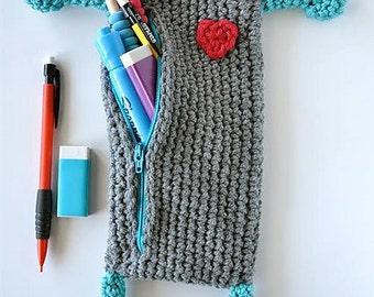 Robot Crochet Pencil Case Pattern pdf
