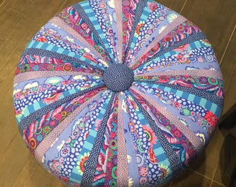 "BLUE PURPLE Handmade Tuffet 18"" Round - one of a kind - Ottoman - Foot Stool -  Shades of Blue - Kaffe fabrics"