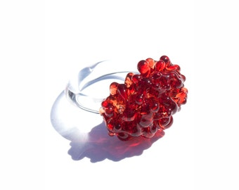 Glass Cluster Ring - Pomegranate