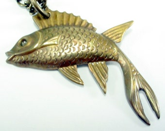 Koi Fish - Brass Pendant Necklace