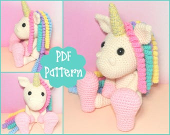 PDF - Unicorn Amigurumi Pattern, Unicorn Crochet, Crochet Pattern, Unicorn Plush, Unicorn Plushie, Unicorn Toy, Crochet Toy, Cute Unicorn,
