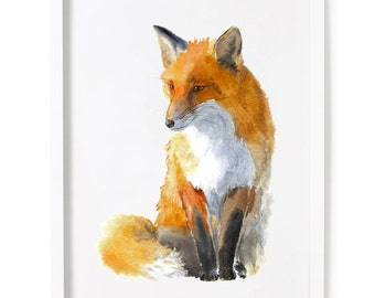 Fox Print, Fox Watercolor Print, Fox Watercolor Art