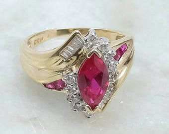 Bright Vibrant 10K Two Tone Gold 1.85ct Created Red Marquise Ruby & Diamond Accented Gemstone Cocktail Cluster Statement Ring Size 5.5