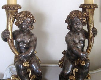 Vintage Pair of Table Lamps Carved Putti Italian Style Torcheres
