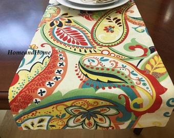 Dining table runner holidays weddings party designer fabric Covington Whimsy Multi paisley table runner topper