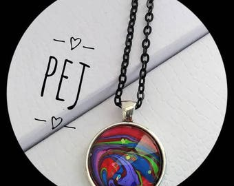 Colorful,swirl,handpainted,cabochon,pendant,necklace,giftsforher,watermarble