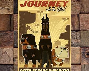 Journey Into the Wild Vintage Ad, Vintage Animal Ad, Animal Art, Dog Art Print,  Vintage Art, Giclee Art Print, fine Art Reproduction