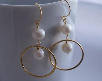 Pearl and Gold Hoop Earrings, 24K Gold Filled Vermeil, Bridal Wedding Jewelry Minimal Design Dangle Gift Linear Boho Beach Earrings