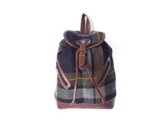 vintage FLANNEL & LEATHER school bag 90s color BLOCK plaid backpack