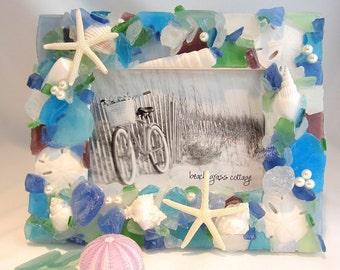 "Seashell Frame, Beach Decor Sea Glass Frame, Nautical Beach Glass Frame, Seaglass Frame, 8x10"" BRIGHT MIX"
