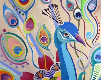 Peacock -Large print of Original Painting