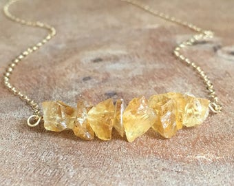 Citrine Necklace - Raw Citrine Necklace - November Birthstone Necklace - Citrine Jewelry - Raw Crystal Necklace - Gift For Mom - Joy Stone