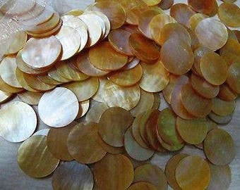 Gold Disk (1 INCH) Round Mother of Pearl shells  (2 Shells)